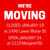 We're moving! Closed January 19 at 1496 Lower Water St. Open January 24 at 1113 Marginal Rd.